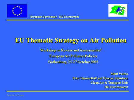 European Commission - DG Environment Clean Air for Europe EU Thematic Strategy on Air Pollution Workshop on Review and Assessment of European Air Pollution.