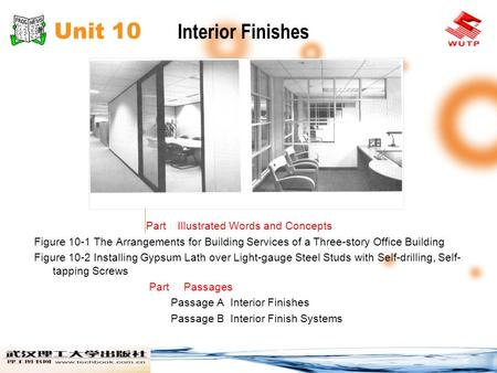 Unit 10 Interior Finishes Part Illustrated Words and Concepts Figure 10-1 The Arrangements for Building Services of a Three-story Office Building Figure.