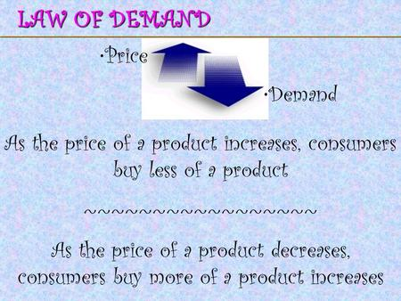 123 Go To Section: LAW OF DEMAND Price Demand As the price of a product increases, consumers buy less of a product ~~~~~~~~~~~~~~~~~ As the price of a.