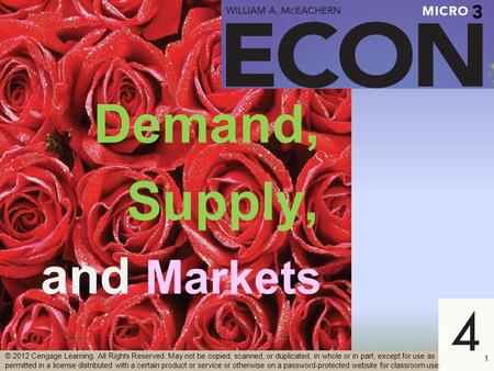 Demand, Supply, and Markets 1 © 2012 Cengage Learning. All Rights Reserved. May not be copied, scanned, or duplicated, in whole or in part, except for.