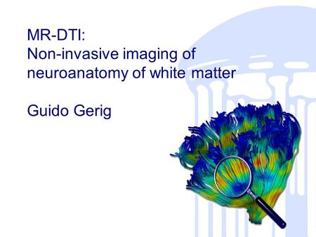 MR-DTI: Non-invasive imaging of neuroanatomy of white matter Guido Gerig.