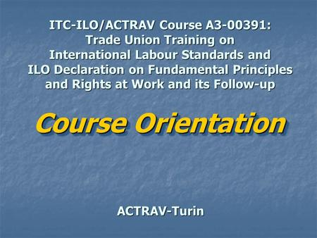 ITC-ILO/ACTRAV Course A3-00391: Trade Union Training on International Labour Standards and ILO Declaration on Fundamental Principles and Rights at Work.