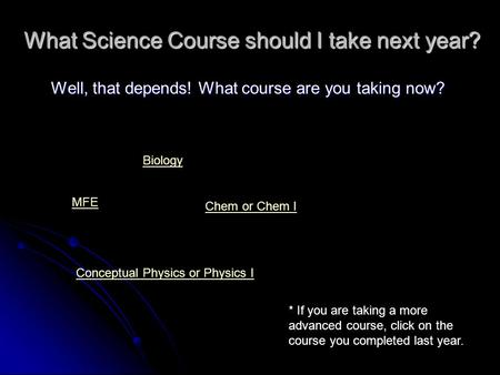 What Science Course should I take next year? Well, that depends! What course are you taking now? MFE Biology Conceptual Physics or Physics I Chem or Chem.