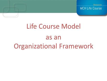 Life Course Model as an Organizational Framework