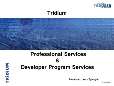 Professional Services & Developer Program Services Presenter: Jason Spangler © Tridium 2013 Tridium.