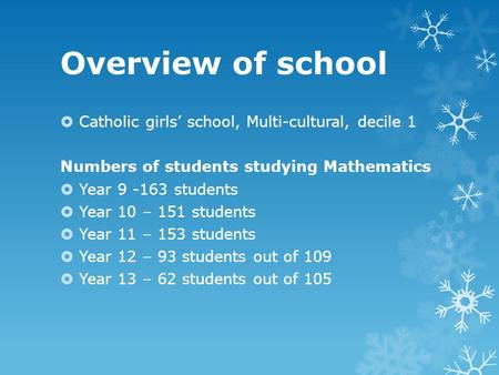 Overview of school Catholic girls school, Multi-cultural, decile 1 Numbers of students studying Mathematics Year 9 -163 students Year 10 – 151 students.