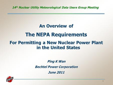 14th Nuclear Utility Meteorological Data Users Group Meeting