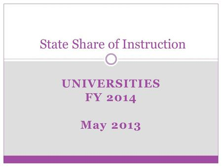 UNIVERSITIES FY 2014 May 2013 State Share of Instruction.