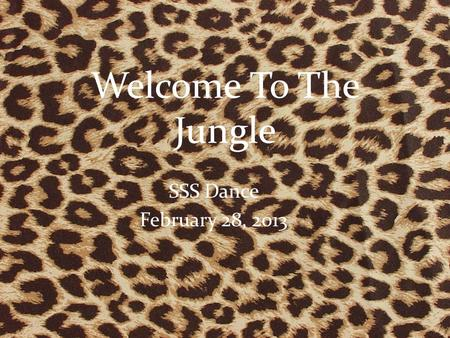 Welcome To The Jungle SSS Dance February 28, 2013.