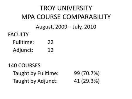 TROY UNIVERSITY MPA COURSE COMPARABILITY August, 2009 – July, 2010 FACULTY Fulltime:22 Adjunct:12 140 COURSES Taught by Fulltime:99 (70.7%) Taught by Adjunct:41.