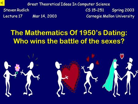 The Mathematics Of 1950s Dating: Who wins the battle of the sexes? Great Theoretical Ideas In Computer Science Steven Rudich CS 15-251 Spring 2003 Lecture.