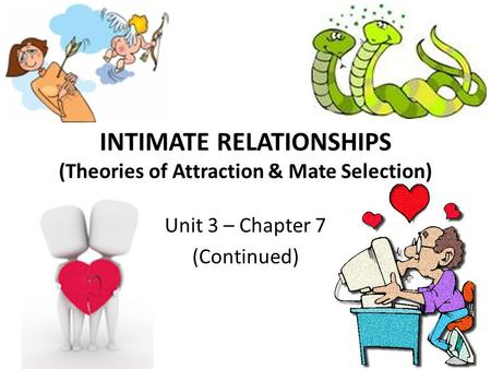 INTIMATE RELATIONSHIPS (Theories of Attraction & Mate Selection) Unit 3 – Chapter 7 (Continued)