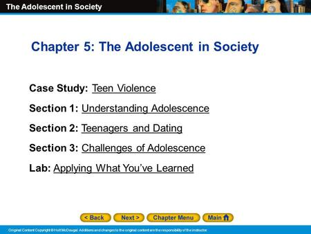 Chapter 5: The Adolescent in Society