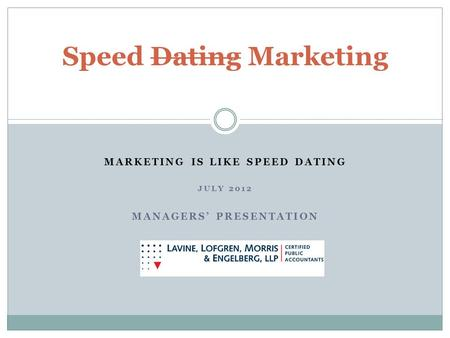 MARKETING IS LIKE SPEED DATING JULY 2012 MANAGERS PRESENTATION Speed Dating Marketing.