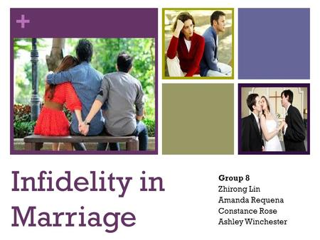 + Infidelity in Marriage Group 8 Zhirong Lin Amanda Requena Constance Rose Ashley Winchester.
