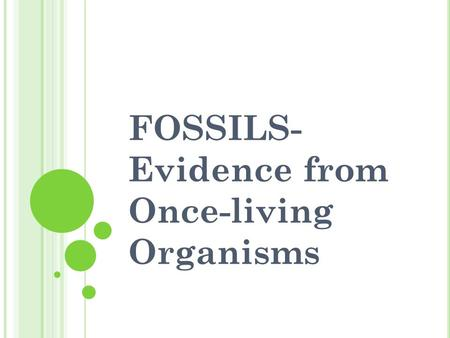 FOSSILS- Evidence from Once-living Organisms. Fossils found in SEDIMENTARY ROCKS The lower the sediment layer is, the older the fossils of the layer will.