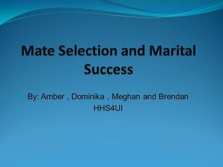 By: Amber, Dominika, Meghan and Brendan HHS4UI. Greater marital success is a result of a dating experience that enables the partners to get to know each.