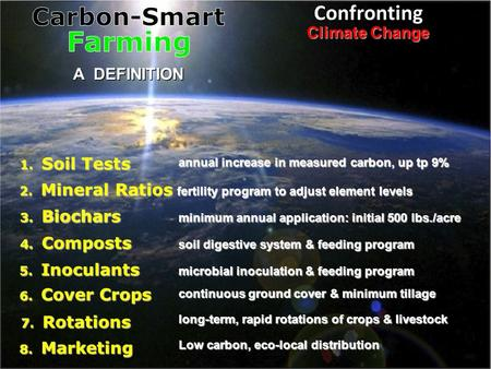 Confronting Climate Change A DEFINITION 1. Soil Tests 3. Biochars 4. Composts 5. Inoculants 2. Mineral Ratios 6. Cover Crops 7. Rotations 8. Marketing.