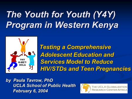 The Youth for Youth (Y4Y) Program in Western Kenya