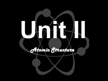 Unit II Atomic Structure. Obj. 1…Daltons Atomic Theory Four postulates (1808)... Four postulates (1808)... 2. Atoms of the same element are identical...