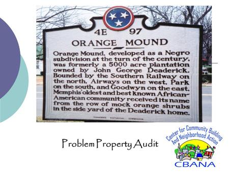 Problem Property Audit. Our Study Area Quick Facts Census Tracts 67, 79, 70, 68 and 81.2 Total Land Parcels Total Population: 32,389 95.3% African-American.