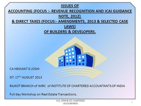 H.G. JOSHI & CO. CHARTERED ACCOUNTANTS