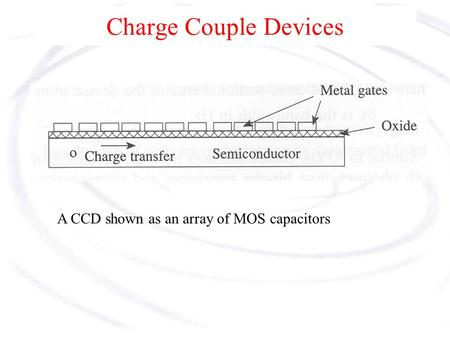 Charge Couple Devices Charge Couple Devices, or CCDs operate in the charge domain, rather than the current domain, which speeds up their response time.