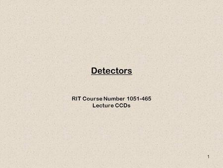 RIT Course Number Lecture CCDs