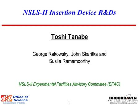 1 BROOKHAVEN SCIENCE ASSOCIATES NSLS-II Insertion Device R&Ds Toshi Tanabe George Rakowsky, John Skaritka and Susila Ramamoorthy NSLS-II Experimental Facilities.