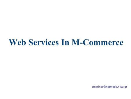 Web Services In M-Commerce