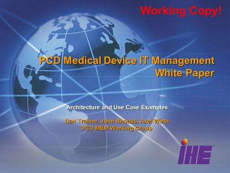 PCD Medical Device IT Management White Paper