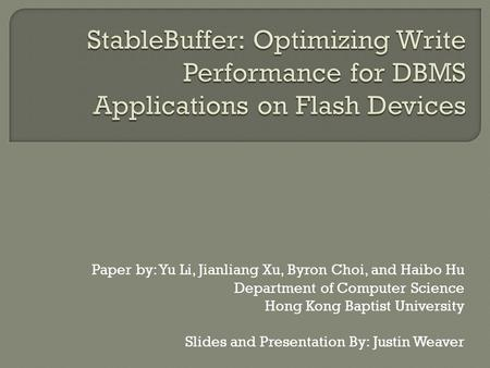 Paper by: Yu Li, Jianliang Xu, Byron Choi, and Haibo Hu Department of Computer Science Hong Kong Baptist University Slides and Presentation By: Justin.