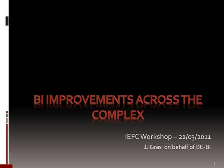 IEFC Workshop – 22/03/2011 JJ Gras on behalf of BE-BI 1.