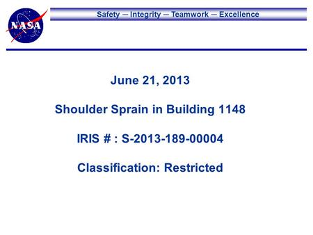 Safety Integrity Teamwork Excellence June 21, 2013 Shoulder Sprain in Building 1148 IRIS # : S-2013-189-00004 Classification: Restricted.