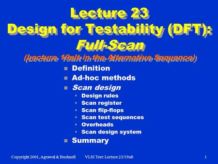 Copyright 2001, Agrawal & BushnellVLSI Test: Lecture 23/19alt1 Lecture 23 Design for Testability (DFT): Full-Scan (Lecture 19alt in the Alternative Sequence)
