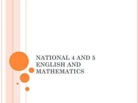 NATIONAL 4 AND 5 ENGLISH AND MATHEMATICS. E NGLISH – I NTERNAL A SSESSMENT N5: Analysis and Evaluation Creation and Production N4: Analysis and Evaluation.