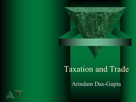 Taxation and Trade Arindam Das-Gupta. Outline - 8 effects on trade t Taxes can cause trade t Trade taxes reduce trade and welfare t Differential tariffs.