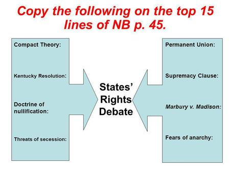 Copy the following on the top 15 lines of NB p. 45.