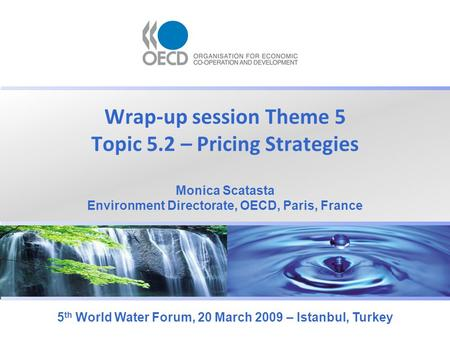 Wrap-up session Theme 5 Topic 5.2 – Pricing Strategies 5 th World Water Forum, 20 March 2009 – Istanbul, Turkey Monica Scatasta Environment Directorate,