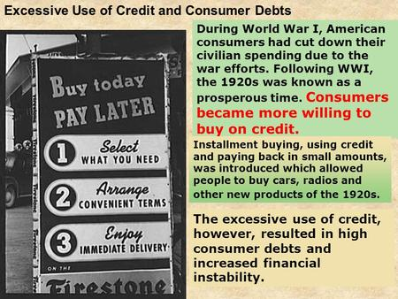 Excessive Use of Credit and Consumer Debts