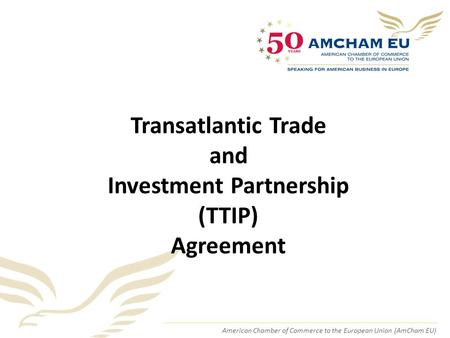 American Chamber of Commerce to the European Union (AmCham EU) Transatlantic Trade and Investment Partnership (TTIP) Agreement.