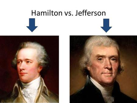 Hamilton vs. Jefferson. Overview on their beliefs… Hamilton, being from the North, backed manufacturing, higher tariffs and business Hamilton wanted a.