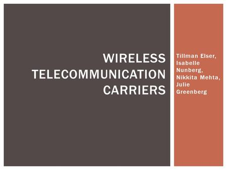 Tillman Elser, Isabelle Nunberg, Nikkita Mehta, Julie Greenberg WIRELESS TELECOMMUNICATION CARRIERS.
