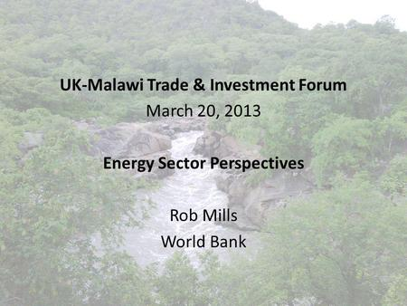 UK-Malawi Trade & Investment Forum March 20, 2013 Energy Sector Perspectives Rob Mills World Bank.