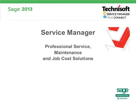 Professional Service, Maintenance and Job Cost Solutions Service Manager.