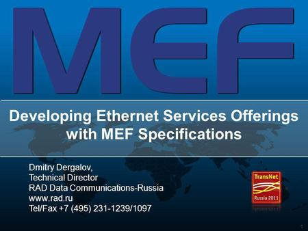 Developing Ethernet Services Offerings with MEF Specifications