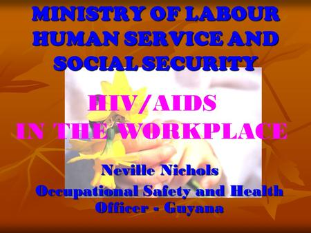 MINISTRY OF LABOUR HUMAN SERVICE AND SOCIAL SECURITY Neville Nichols Occupational Safety and Health Officer - Guyana HIV/AIDS IN THE WORKPLACE.