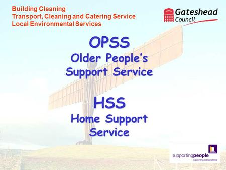 OPSS Older Peoples Support Service HSS Home Support Service Building Cleaning Transport, Cleaning and Catering Service Local Environmental Services.