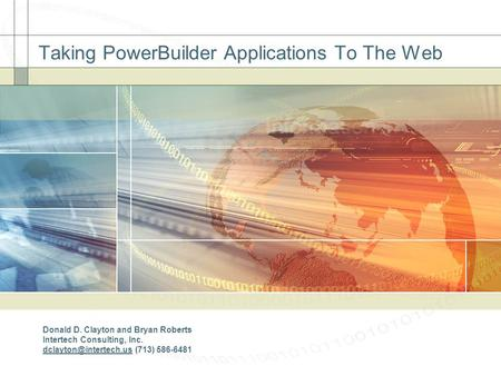 Taking PowerBuilder Applications To The Web