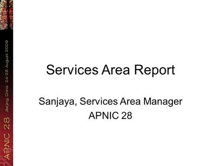 Services Area Report Sanjaya, Services Area Manager APNIC 28.